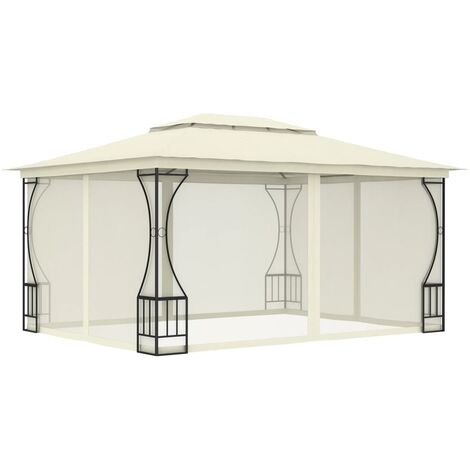 Gazebo with Curtains 300x400x265 cm Cream