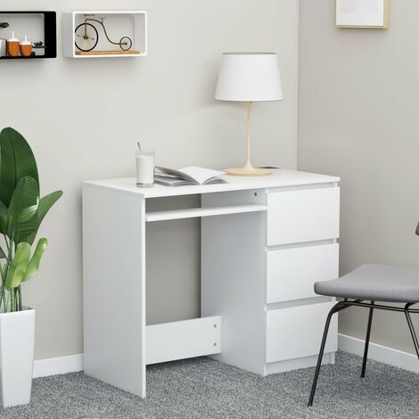 Desk White 90x45x76 cm Chipboard