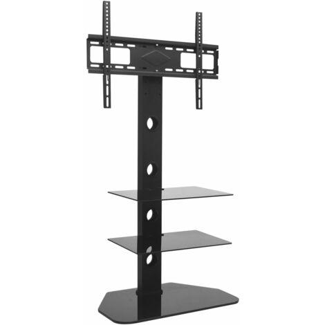 """vidaXL Swivel TV Floor Stand Mount 32""""-70"""" with 2 Shelves - Black"""