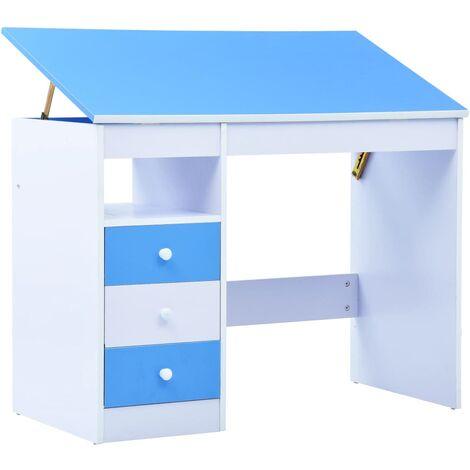 Children Drawing Study Desk Tiltable Blue and White