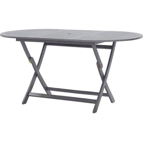 vidaXL Folding Garden Table 160x85x75 cm Solid Acacia Wood - Grey