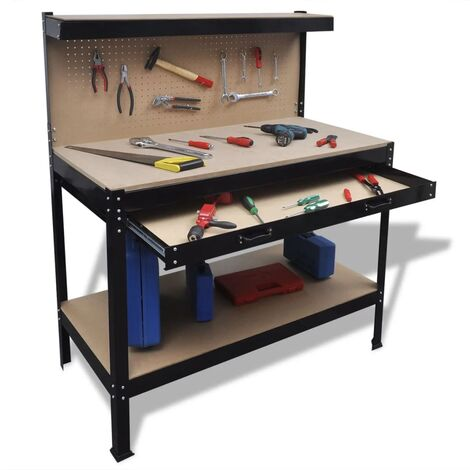 Workbench with Pegboard and Drawer - Brown