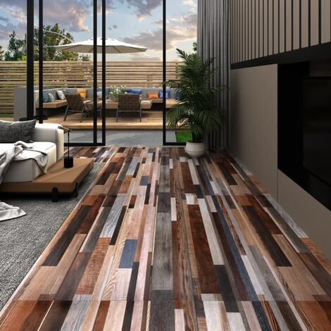 vidaXL PVC Flooring Planks 5.02 m² 2 mm Self-adhesive Multicolour - Multicolour