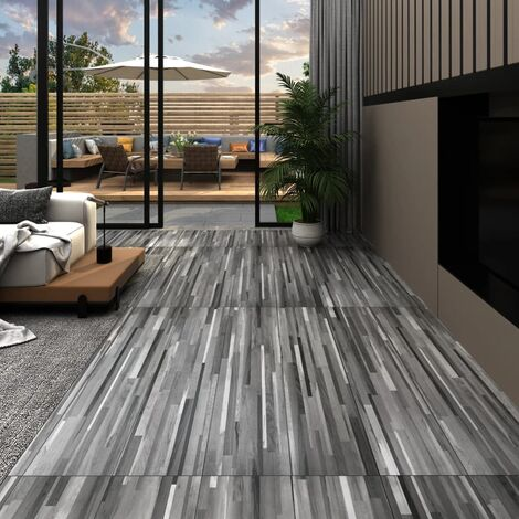 vidaXL PVC Flooring Planks 4.46 m² 3 mm Self-adhesive Striped Grey - Grey