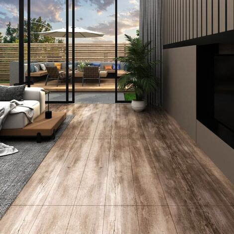 vidaXL PVC Flooring Planks 5.26 m² 2 mm Wood Wash - Brown