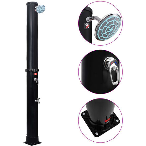 vidaXL Outdoor Solar Shower with Shower Head and Faucet 35 L - Black