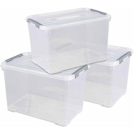 Curver Handy+ Storage Box Set 3 pcs with Lid 35L Transparant - Transparent