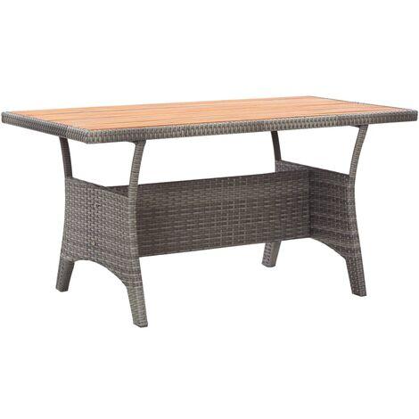 vidaXL Garden Table Grey 130x70x66 cm Solid Acacia Wood - Grey