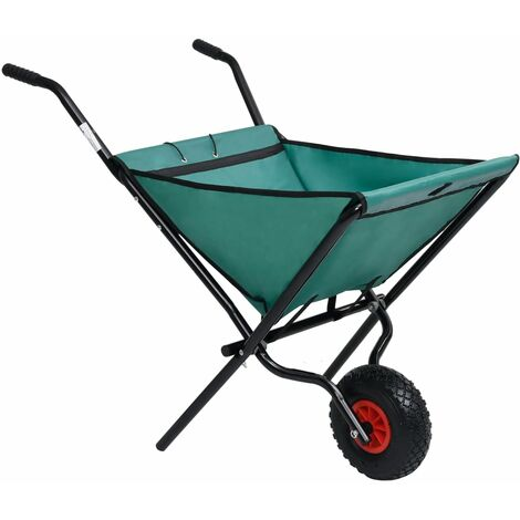 vidaXL Folding Garden Wheelbarrow 60 L Green - Green
