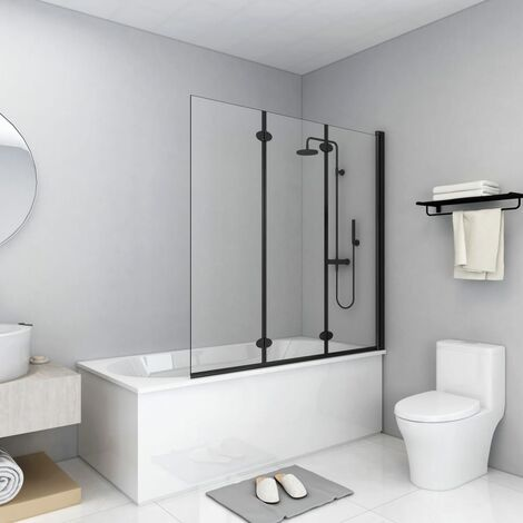 vidaXL Folding Shower Enclosure 3 Panels ESG 130x138 cm Black