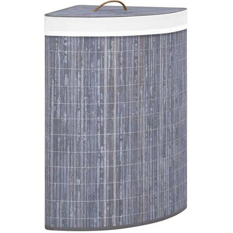 vidaXL Bamboo Corner Laundry Basket Grey 60 L - Grey