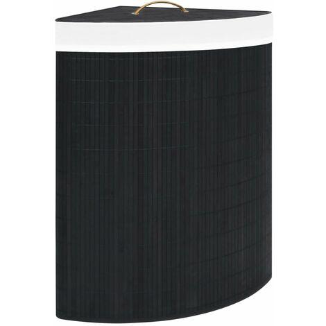 Bamboo Corner Laundry Basket Black 60 L