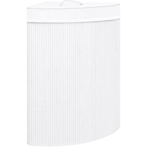 vidaXL Bamboo Corner Laundry Basket White 60 L - White