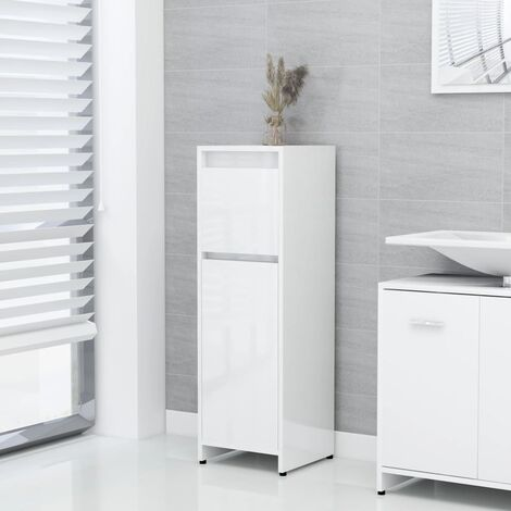 Bathroom Cabinet High Gloss White 30x30x95 cm Chipboard