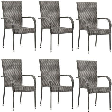 vidaXL Stackable Outdoor Chairs 6 pcs Grey Poly Rattan - Grey