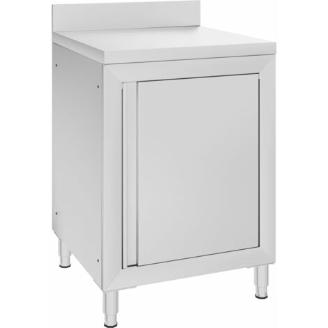 vidaXL Commercial Work Table with Cabinet 60x60x96 cm Stainless Steel