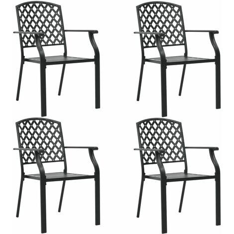 vidaXL Outdoor Chairs 4 pcs Mesh Design Steel Black - Black