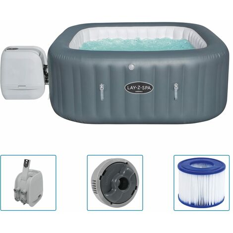 """Bestway Lay-Z-Spa Inflatable Hot Tub """"Hawaii HydroJet Pro"""" - Grey"""