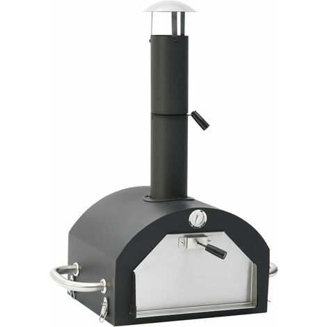 vidaXL Outdoor Pizza Oven with Pizza Stone - Black