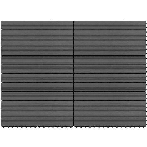 vidaXL Decking Tiles 6 pcs WPC 60x30 cm 1.08 m² Black - Black