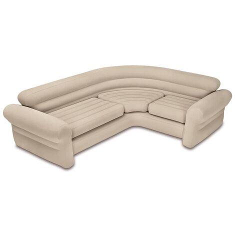 Intex Inflatable Corner Sofa/Couch 257x203x76 cm 68575NP - Beige