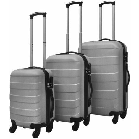 vidaXL Hardcase Trolley Set 3 Piece Lightweight Durable Travel Luggage Security Lock Wheels Castors Suitcase Bag Case Multi Colours