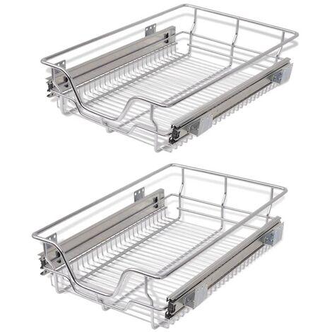 2 pcs Pull-Out Wire Baskets Kitchen Base Larder Units Storage Organiser 5 Sizes