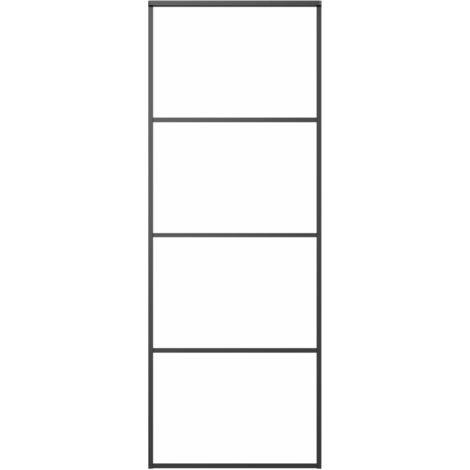 vidaXL Sliding Door Aluminium and ESG Glass 76x205 cm Black - Black