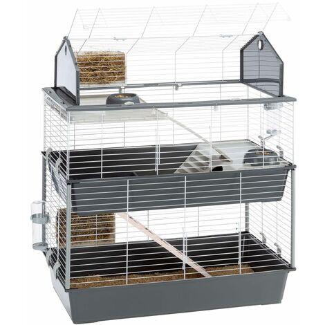 Ferplast Rabbit Cage Barn 100 Double 95x57x121 cm Grey - Grey
