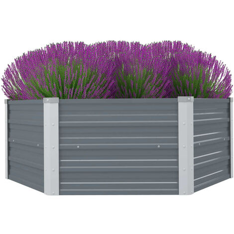 Raised Garden Bed 129x129x46 cm Galvanised Steel Grey