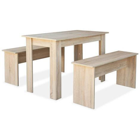 vidaXL Dining Table and Benches 3 Piece Chipboard Kitchen Furniture White/Oak