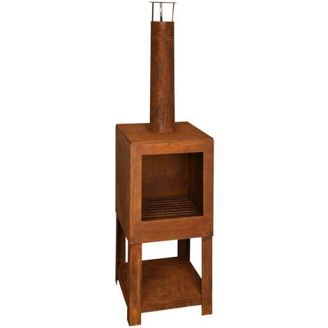 Esschert Design Outdoor Fireplace with Firewood Storage Rust FF298