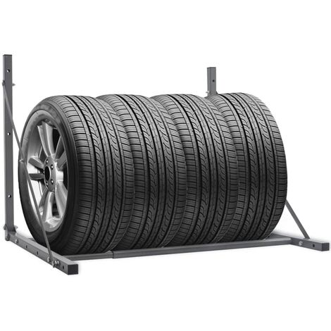 Foldable Tyre Rack Silver Galvanised Steel