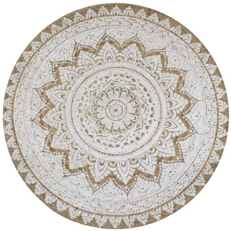 vidaXL Area Rug Braided Jute Printed Round Living Room Carpet Multi Sizes