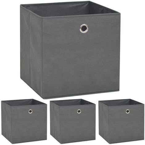 vidaXL 4/10x Storage Boxes Non-woven Fabric 32x32x32 cm Storage Cabinet Storage Chest Storage Bin Home Living Room Study Bedroom Black/Grey