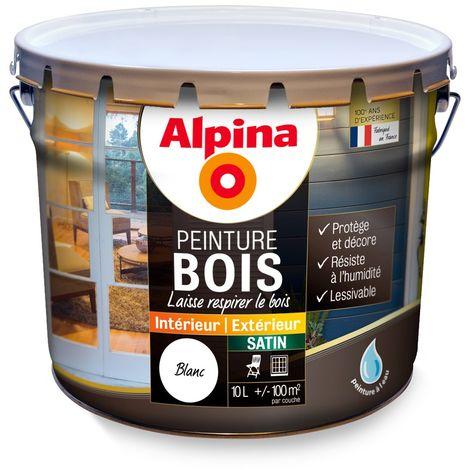Peinture bois Alpina satin 10L   Couleur: Blanc