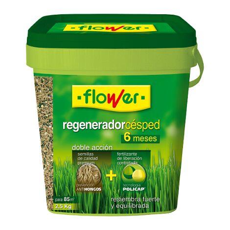 FLOWER Regenerador Césped 6 Meses, Doble Acción, Cubo 2,5 kg