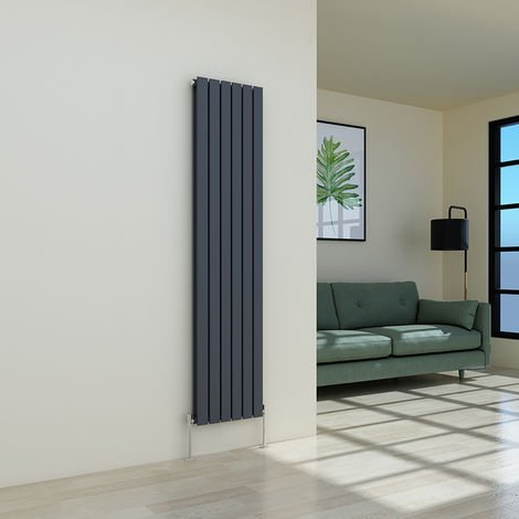 Karlstad 1800 x 410mm Anthracite Double Flat Panel Vertical Radiator