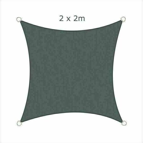 2x2m Sun Sail Shade Square Awning Canopy Garden Sun Cover Patio Sunscreen - Charcoal