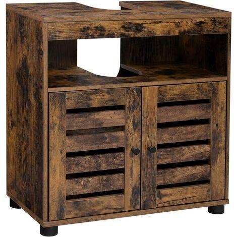 VASAGLE Mueble de Lavabo, Mueble de Baño, Armario de Almacenamiento, 60 x 30 x 63 cm, con 2 Puertas de Persiana, Tablero Ajustable, Marrón Rústico BBK04BX - Marrón Rústico