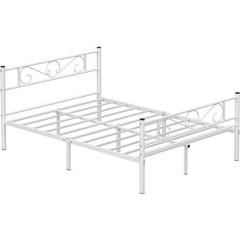VASAGLE Marco de cama doble, Estructura de metal, para colchón de 140 x 190 cm, para adultos y niños, sin resorte de arco, Montaje simple, para espacios pequeños, Blanco por SONGMICS RMB063W01 - Blanco