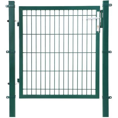 Puerta de malla de jardín Puerta de verja Acero galvanizado Sólido y estable Cerradura y llaves Puerta de jardín de 106 x 100cm Malla de 50 x 200mm Gris GGD250G