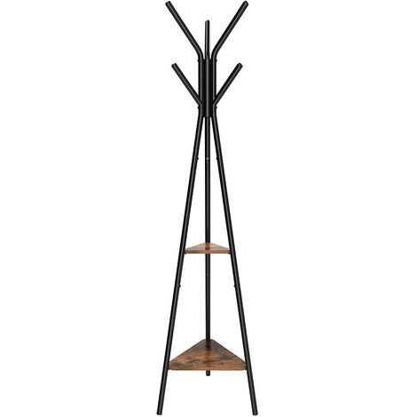 Vintage Coat Rack Stand, Coat Tree, Hall Tree Free Standing, Industrial Style, with 2 Shelves, for Clothes, Hat, Bag, Black, Vintage, RCR16BX