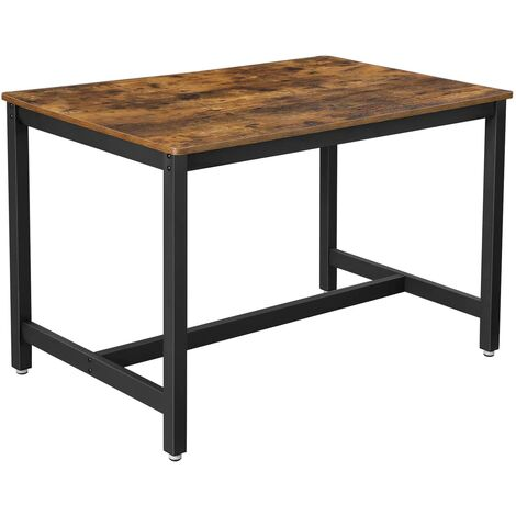 VASAGLE Dining Table for 4 People, Kitchen Table, 120 x 75 x 75 cm, Heavy Duty Metal Frame, Industrial Style, for Living Room, Dining Room, Rustic Brown/Greige and Black