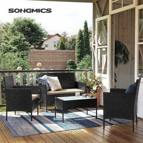 Garden Furniture Sets, Polyrattan Outdoor Patio Furniture, Conservatory PE Wicker Furniture, for Patio Balcony Backyard, Black and Beige GGF002B01 - Black