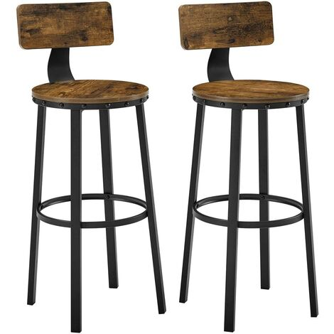 VASAGLE Set of 2 Tall Bar Stools, Bar Chairs with Backrest, Kitchen Stools, Heavy-Duty Steel Frame, 73.2 cm High Seat, Easy Assembly, Industrial, Rustic Brown and Black by SONGMICS LBC026B01