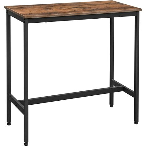 VASAGLE Bar Table, Narrow Rectangular Bar Table, Kitchen Table, Pub Dining High Table, Sturdy Metal Frame, 100 x 40 x 90 cm, Easy Assembly, Industrial Design, Rustic Brown and Black by SONGMICS LBT10X
