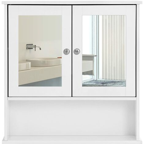Bathroom Mirror Cabinet Storage Cupboard Wall-Mounted Storage Unit Wooden With Double Mirrored Doors Adjustable Shelf 56 x 13 x 58cm (W x D x H) White LHC002