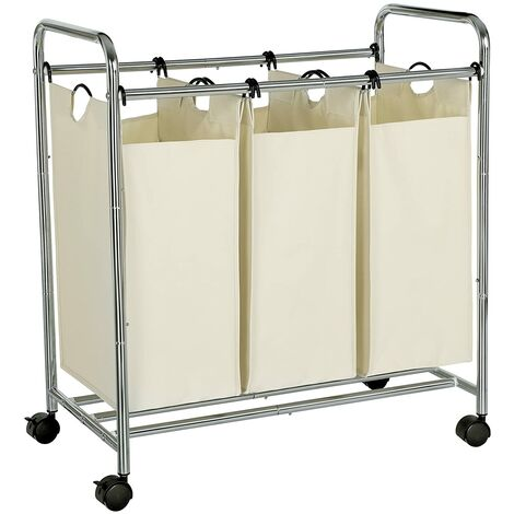 Laundry Basket, Laundry Trolley with 3 Removable Fabric Bags, Laundry Container on Wheels, Laundry Sorter, Sturdy, 3 x 44L