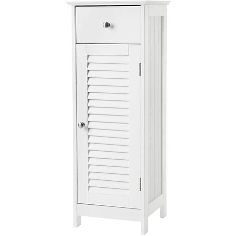 VASAGLE Wooden Bathroom Floor Cabinet Storage Organizer Set Free Standing Corner Unit with 1 drawer and 1 Cupboard Shutter Door White by SONGMICS BBC43WT